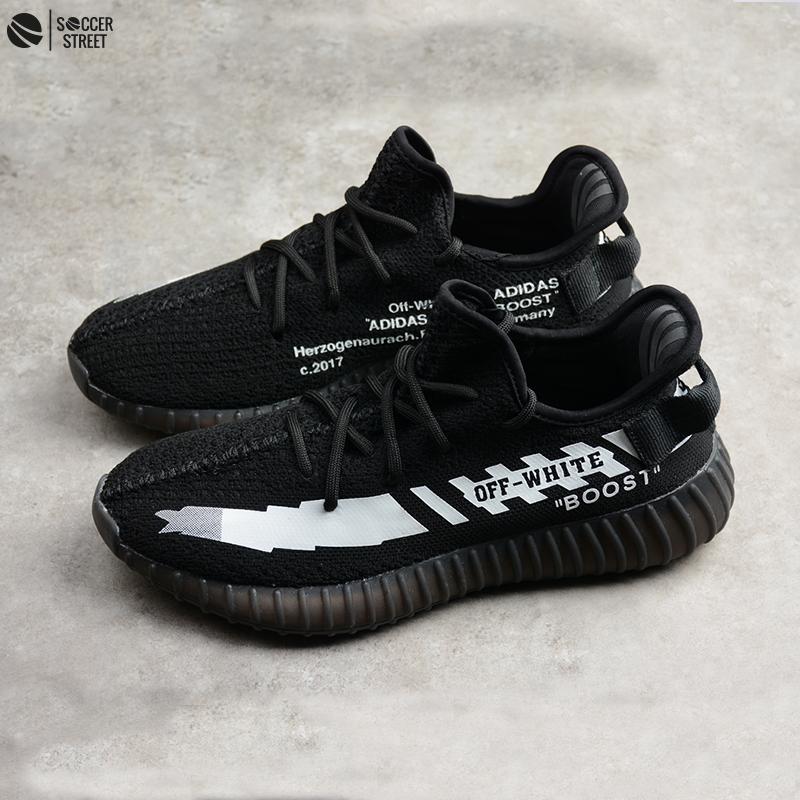cf82aefa9 ... Adidas Originals Yeezy OFF White X Boost Black White Shoes ...
