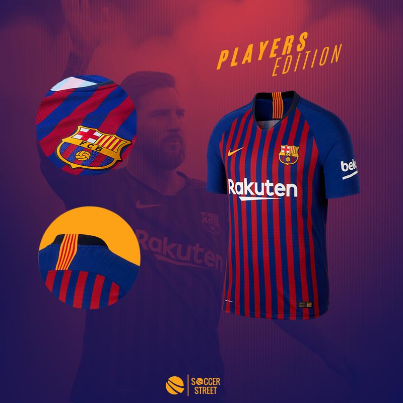 d639b4b884a ... Barcelona Home 18 19 Players Edition Soccer Jersey ...