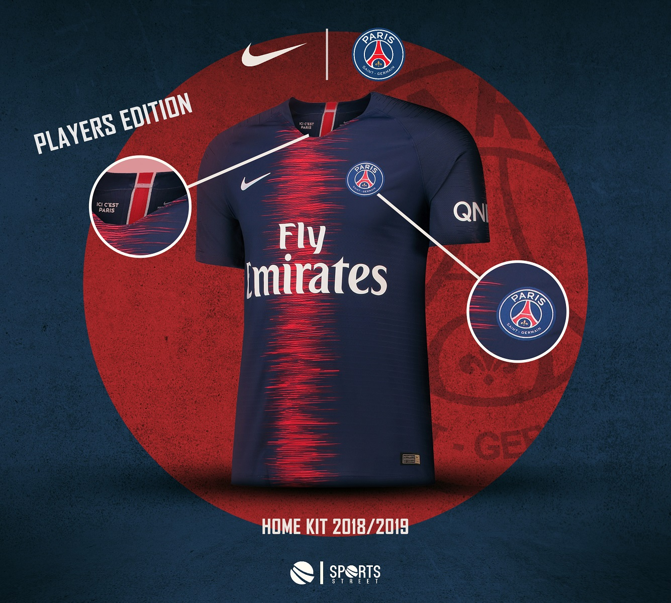 Paris Saint Germain 18 19 Players Edition Home Soccer Jersey 1c56c6f1c