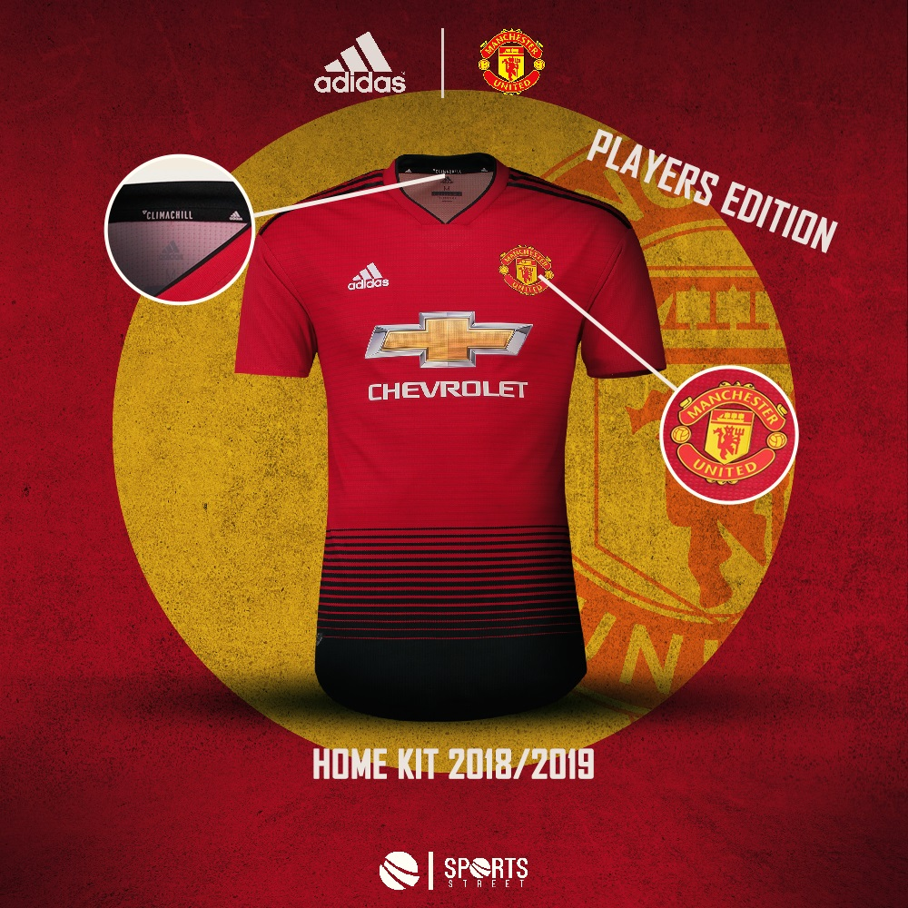 90eee7ce8 ... Manchester United 18 19 Home Players Edition Soccer Jersey ...