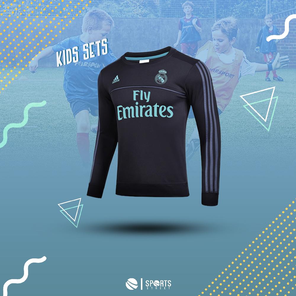 c71cc2299 ... Real Madrid 17 18 Kids Black Training Top ...